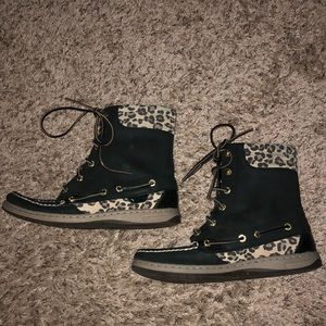 Sperry Top-Sider Boots Black & Cheetah